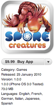 Spore Creatures (iPhone) releases in New Zealand