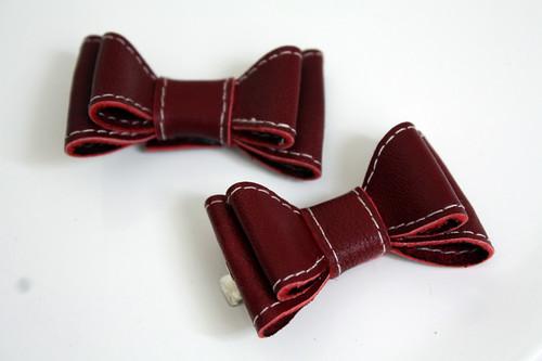 Leather Bow Hair Clips