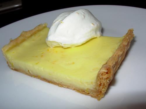 Meyer lemon tart with meyer lemon whipped cream