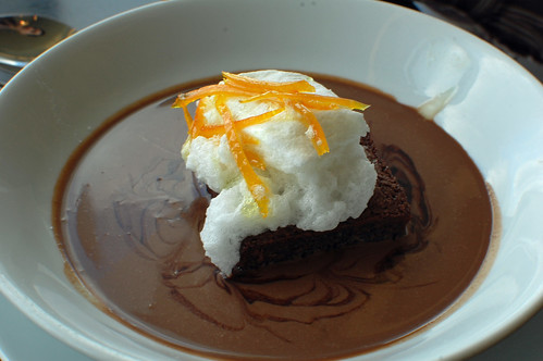 Bitter Chocolate Financier, Poached Meringue with Milk Chocolate Sauce