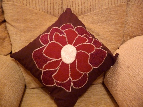 Applique flower cushion cover by Samantha Halliwell