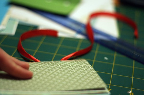 ribbon-bound blank books: threading the ribbon