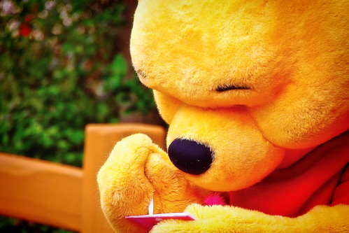 Pooh Signs Autographs at the Hundred Acre Wood