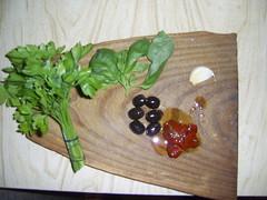 Saulėje džiovintų pomidorų užtepėlės ingridientai