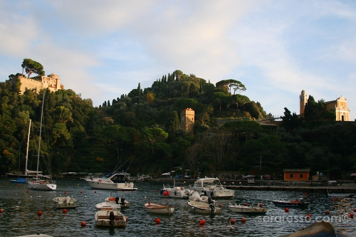 Sunset and the Golden Hour for Castello Brown and St. George Church, Portofino, Italy