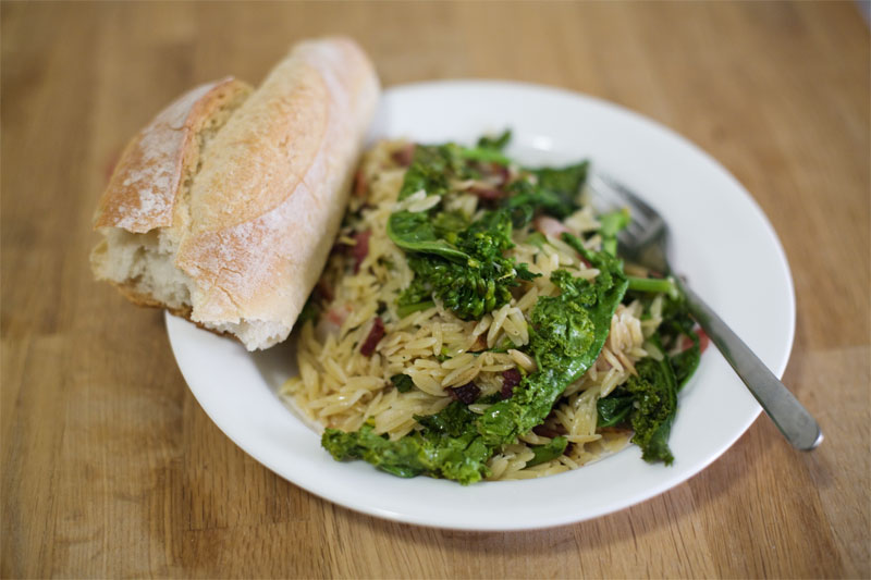 Bacon & Kale Flowers with Orzo