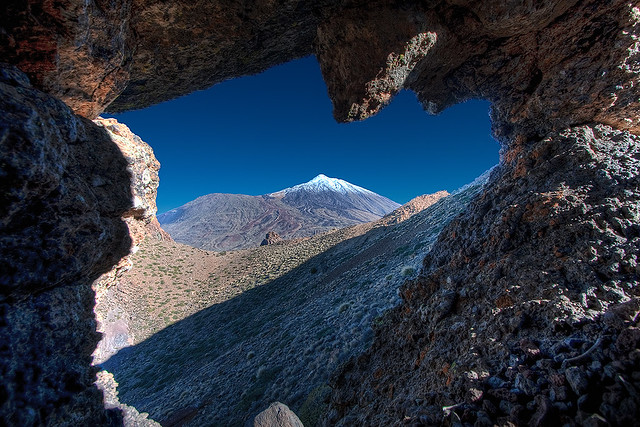 Mt. Teide through rock archway