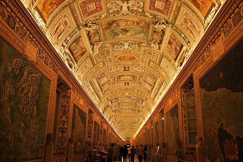 The beautiful map room of the Vatican Museum