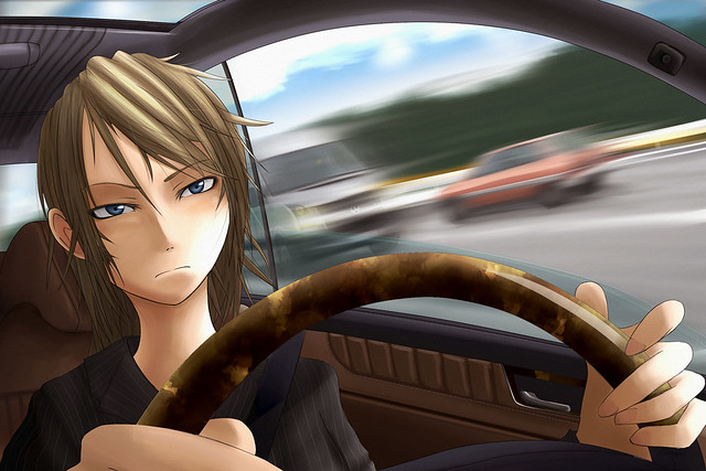 Anime Driving Car