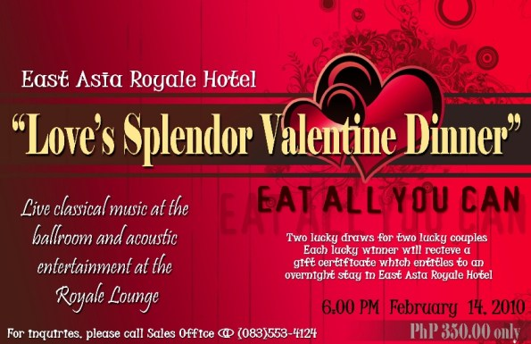 """EAST ASIA ROYALE HOTEL'S LOVE SPLENDOR'S VALENTINE DINNER"""