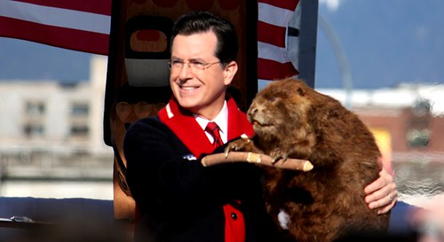 Stephen Colbert with Canada's national mascot.