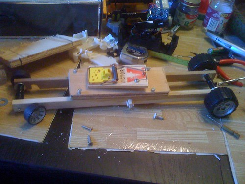 Partially completed mousetrap racer