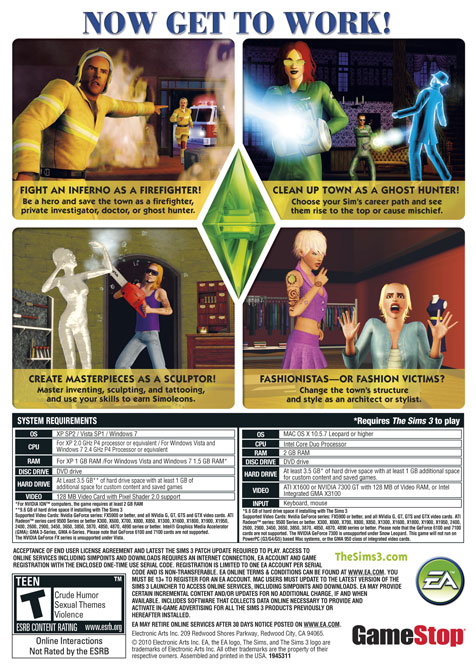 The Sims 3 Ambitions back cover art