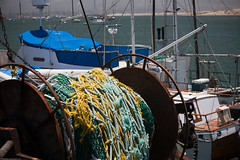 Commercial Fishing Vessel with colorful ropes ...