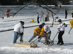 Ice hockey tournament on Ashfield Lake