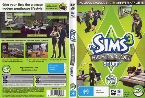 Hi-res scan of The Sims 3 High-End Loft Stuff cover (Australia)