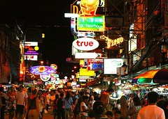 Khao San Road at Night, a frenzy of backpackers, booze and bright lights