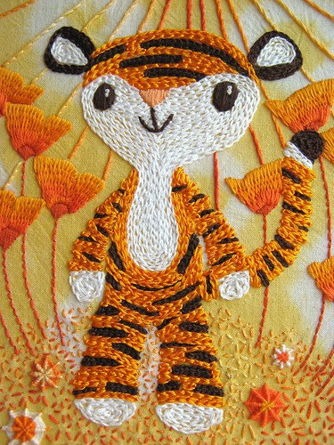 Little Tiger's Orangey Celebration embroidery close-up by Joey's Dream Garden (formerly Joey 7).