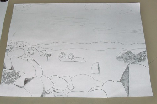 Desert Landscape Drawing