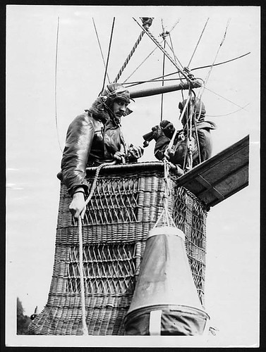 Two soldiers in an observation balloon's basket, France, during World War I, from the National Library of Scotland flickr commons stream