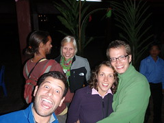 Nathaniel, Floor, Anna, Sarah and Friedrich celebrating New Years Eve in Luang Nam Tha