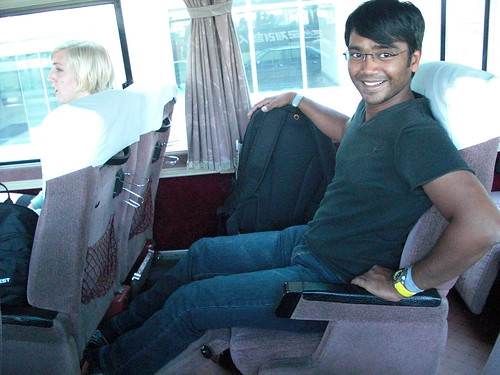 Sandeep enjoying the seats