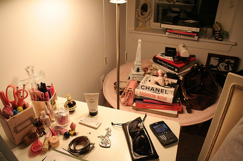 Books on a table