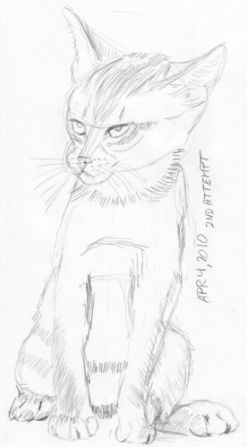 Cute kitten, drawn on April 4, 2010