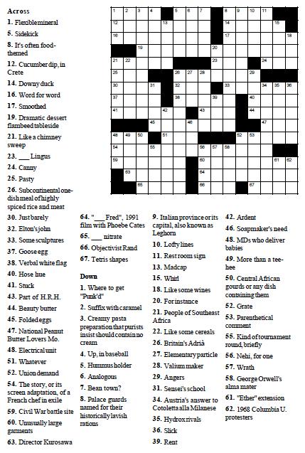 Low fat diet planner, vegetable variety crossword
