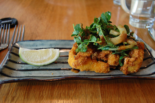 Chilli Squid, Cucumber and Lime Salad, Spicy Peanut Dressing
