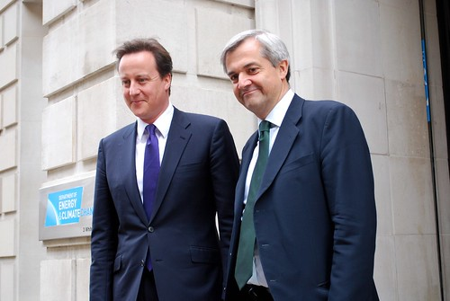 David Cameron and Chris Huhne outside DECC