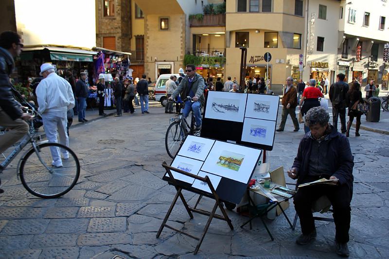 A street artist near Ponte Vecchio