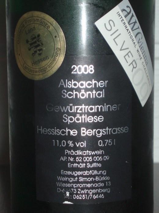 2008 Alsbacher Schöntal Gewürztraminer Spätlese, Weingut Simon-Bürkle Zwingenberg - Rückenetikett