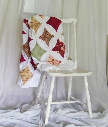 Cathedral Windows Quilt - White, red, sage green