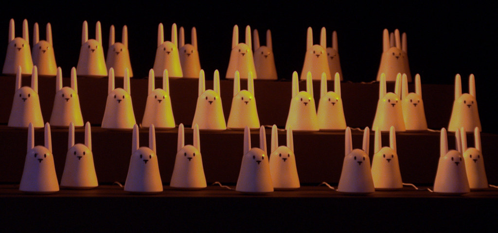 There were three tables of bunnies like this at the show all dancing/singing together...