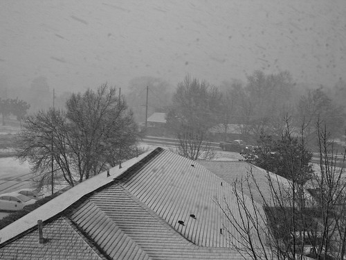 Large Snowflakes and a Snowy Roof