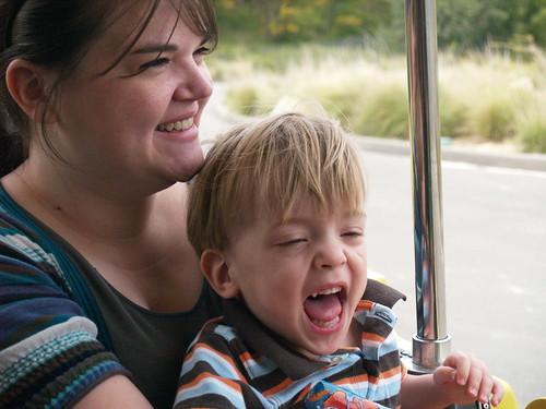 Riding the tram