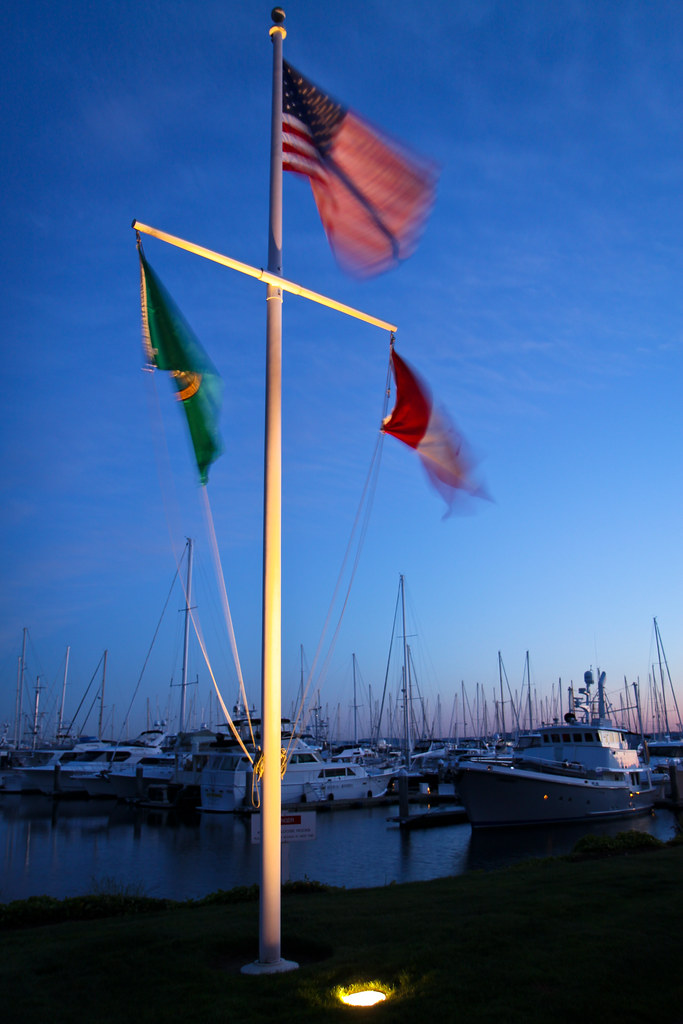 Flags at Elliott Bay Marina