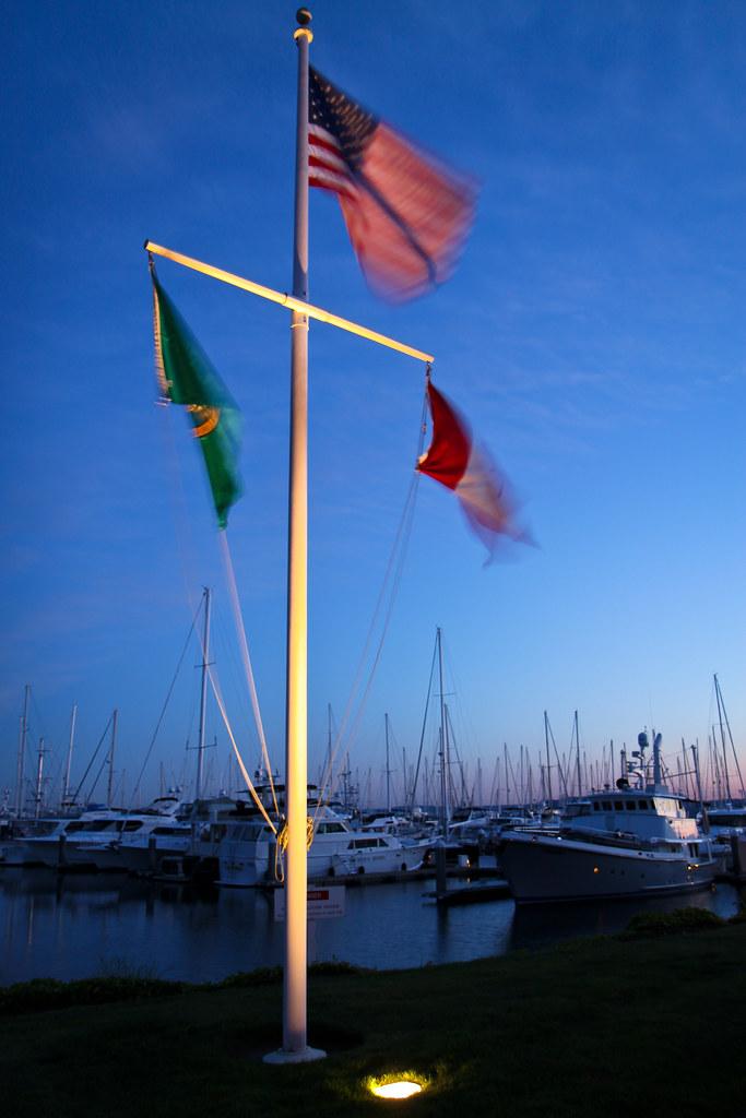 Flags at Elliott Bay Marina