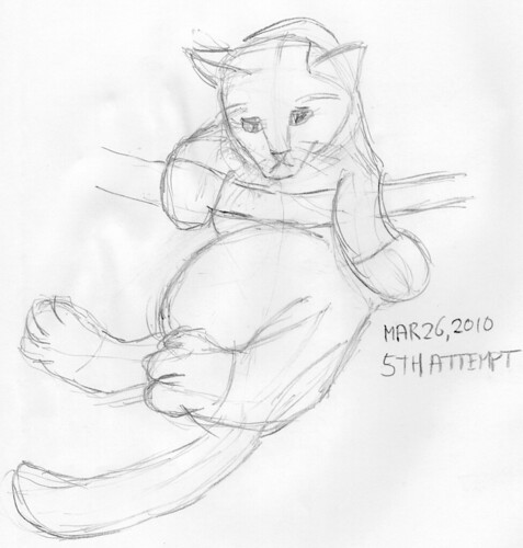 Cute kitten drawn live on March 26, 2010