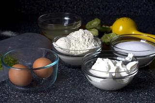 eggs, flour, yogurt, sugar and lime