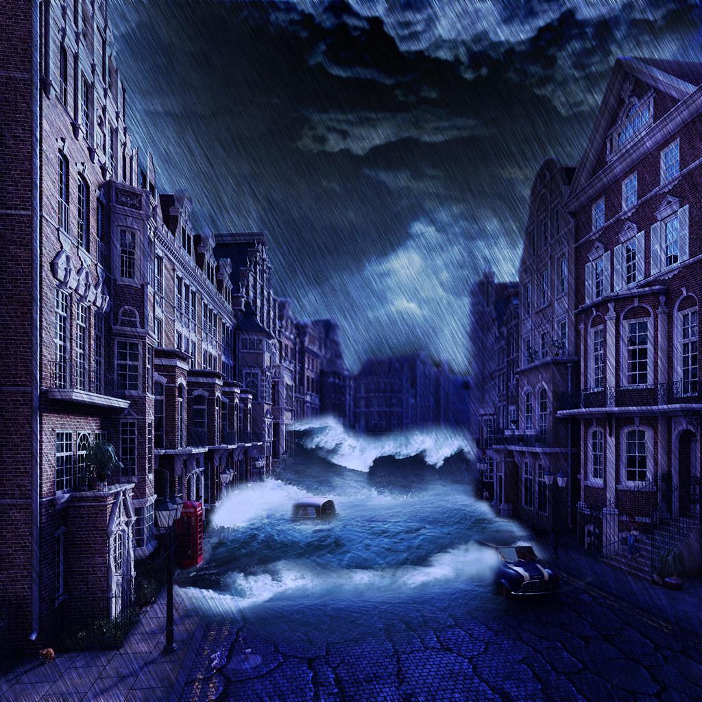 Montagen de cidade inundada