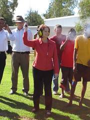 100528 Prime Minister Julia Gillard fires the starter's gun at the Yirara College athletics carnival