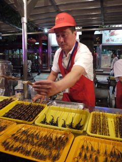 Scorpions and silk worms at Donghuamen Night Market Beijing