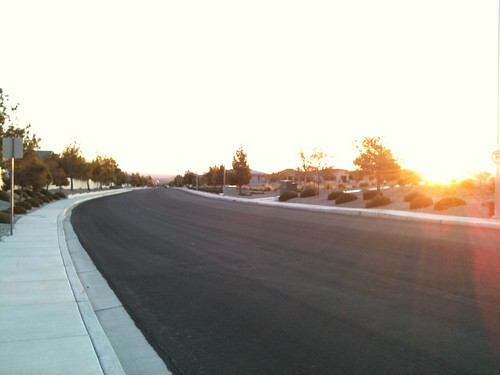 The sun starting to rise above the neighborhoods on my New Years morning run.