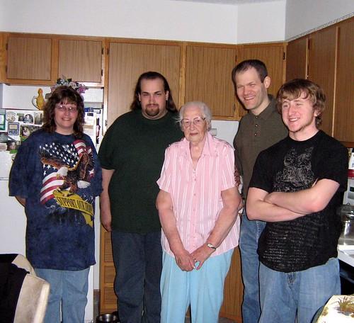 the four grandkids with grandma