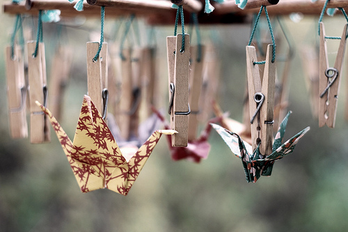 Paper Cranes Pegged 2