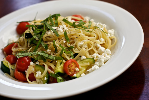Zucchini, Cherry Tomato and Fresh Ricotta Pasta