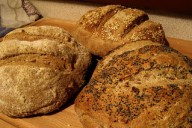 Loaves using six-seed wholemeal dough
