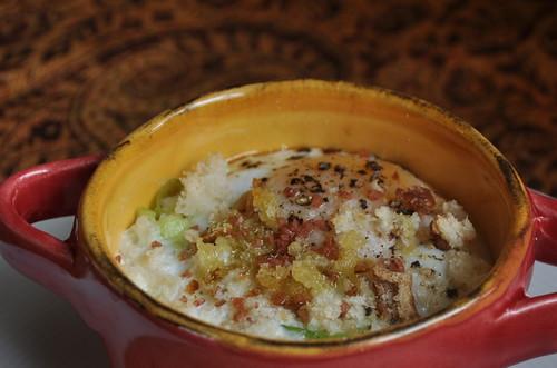 Baked Eggs with Breadcrumbs, Leeks and Hawaiian Sea Salt